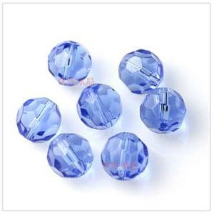 Beads, Glass, Royal blue , Faceted Rounds, Diameter 6mm, 10 Beads, [ZZF0010]