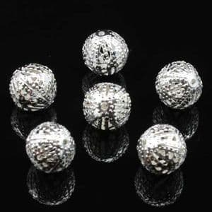 Beads, High quality metal alloy, Silver colour, Round shape, Diameter 10mm, 20 Beads, (YSZ0006)