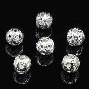Beads, High quality metal alloy, Silver colour, Round shape, Diameter 4mm, 5g, 80 Beads, (YSZ0003)
