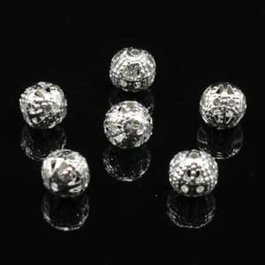 Beads, High quality metal alloy, Silver colour, Round shape, Diameter 6mm, 6g, 50 Beads, (YSZ0004)