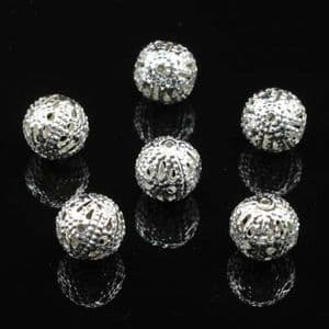 Beads, High quality metal alloy, Silver colour, Round shape, Diameter 8mm, 30 Beads, (YSZ0005)