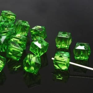 Beads, Imitation Crystal beads, Acrylic, green, Faceted Cubes, 8mm x 8mm, 12g, 50 Beads, (SLZ0381)