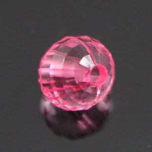 Beads, Plastic, pink, Faceted Round shape, Diameter 8mm, 20g, 70 Beads, (SLZ0263)