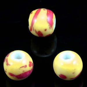 Beads, Porcelain, Pinkish red , Mustard , Round shape, Diameter 12mm, 5 Beads, [TCZ0058]