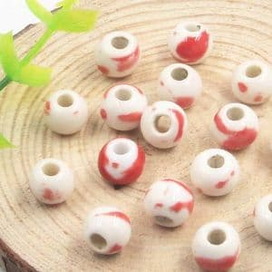 Beads, Porcelain, Red , White , Round shape, 8.5mm x 8.5mm x 7mm, 5 Beads, [TCZ0046]