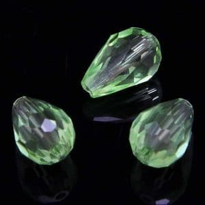 Beads, Selenial Crystal, Crystal, Lime green , Faceted Teardrops, 8mm x 12mm, 1 Bead, [ZZS0019]