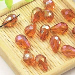 Beads, Selenial Crystal, Crystal, Red orange AB, Faceted Teardrops, 8mm x 12mm, 1 Bead, [ZZS0005]