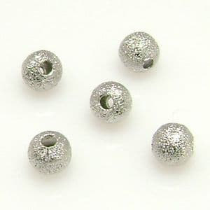 Beads, Silver plated, Silver colour, Spherical, Diameter 4mm, 20 Beads, [LJP043]