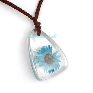 Blue flower pendant necklace, (jnn2)