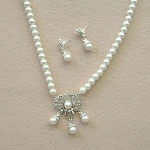 Bridal wedding necklace and earring set, (jnn214)
