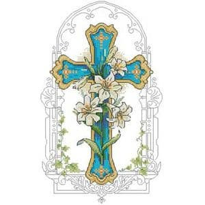 Cross stitch kit, 15cm x 25cm, 14 count (squares/inch), Intermediate, Other flower, (CSY0545)