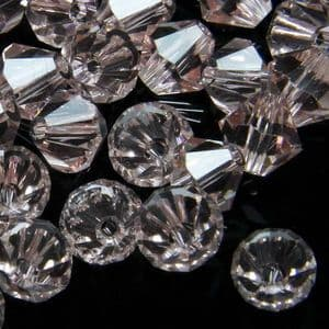 Crystal beads, Auralescent Crystal, Crystal, Light pink , Faceted Bicones, Diameter 6mm, 15 Beads, [ZZB045]
