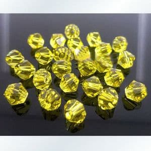 Crystal beads - faceted 6mm, Yellow, 16 Piece, (ZZB020)