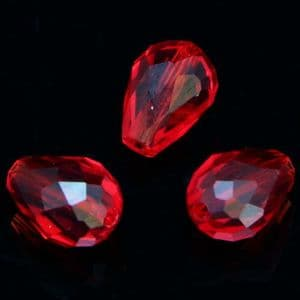Crystal beads, Selenial Crystal, Crystal, Pinkish red , Faceted Teardrops, 8mm x 12mm, 1 Bead, [ZZS0017]