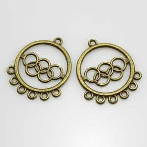 Earring Pendants, Metallic colour, 2.5cm x 3cm, 2 pieces, (EHJ036)