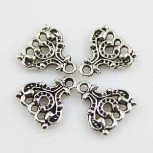 Earring Pendants, Silver colour, 1.3cm x 1.4cm, 2 pieces, (EHJ016)