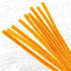 Felt covered wire, Metal and Polyester, orange, 10 Felt covered wires, 30cm x 0.6cm, [CSD028]