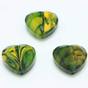 Glass beads, Glass, Green , Burnt orange , Faceted heart shape, 16mm x 16mm x 6mm, 1 Bead, [YZC0006]