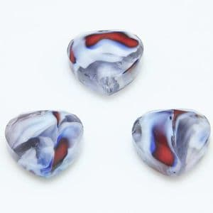 Glass beads, Glass, Grey , White , Faceted heart shape, 16mm x 16mm x 6mm, 1 Bead, [YZC0012]