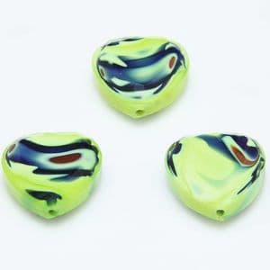 Glass beads, Glass, Olive-Green , Dark green , Faceted heart shape, 16mm x 16mm x 6mm, 1 Bead, [YZC0014]
