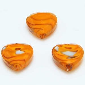 Glass beads, Glass, Orange , Faceted heart shape, 16mm x 16mm x 6mm, 1 Bead, [YZC0008]