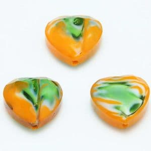 Glass beads, Glass, Orange , Green , Faceted heart shape, 16mm x 16mm x 6mm, 1 Bead, [YZC0004]