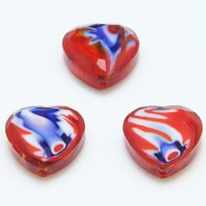 Glass beads, Glass, Red , Blue , Faceted heart shape, 16mm x 16mm x 6mm, 1 Bead, [YZC0011]