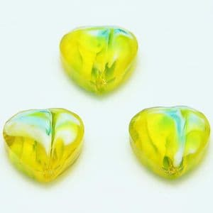 Glass beads, Glass, Yellow , Faceted heart shape, 16mm x 16mm x 6mm, 1 Bead, [YZC0007]