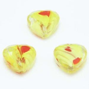 Glass beads, Glass, Yellow , Red , Faceted heart shape, 16mm x 16mm x 6mm, 1 Bead, [YZC0010]