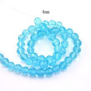Glass Faceted Beads - 4mm, blue, Faceted, 4mm, 80 piece, (QQZ009)