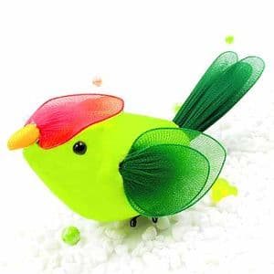 Handmade nylon product, wires and Nylon, green, Bird, 1 Animal, 13cm x 6cm x 6cm, [SW084]