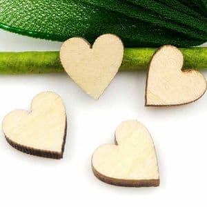 Heart shaped wooden embellishment, Wood, Natural colour, 10mm x 10mm x 3mm, 10 pieces, [MZP181]