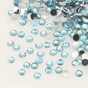 Jewel Embellishments, Resin, Light blue, Faceted Discs, 2mm x 2mm x 0.8mm, 300  pieces, (ZSS070)