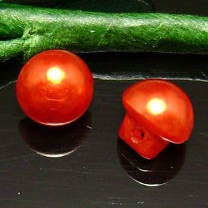 Plastic buttons, red, Diameter 9mm, 5 buttons, (XMK395)