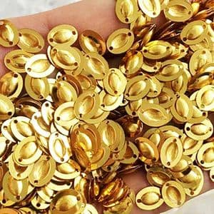 Sequins, Gold colour, 6mm x 8mm, 235 pieces, 3g, Oval, Sequins are shiny, [CZP635]