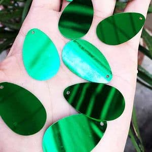 Sequins, green, 18mm x 30mm, 30 pieces, 5g, Oval, Sequins are shiny, [CZP637]
