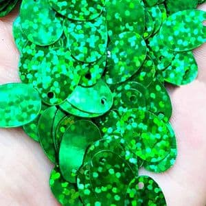 Sequins, green, 9mm x 13mm, 145 pieces, 5g, Oval, Sequins are shiny, [CZP631]
