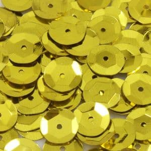 Sequins, Mustard, Diameter 8mm, 1025 pieces, 10g, Faceted Discs, Sequins are shiny, [CZP266]
