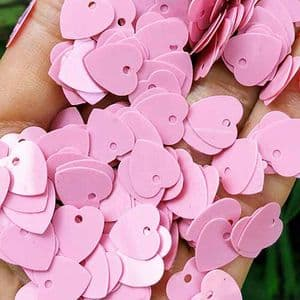 Sequins, pink, 10mm x 10mm, 200 pieces, 5g, Heart shape, Sequins are NOT shiny, [CZP662]