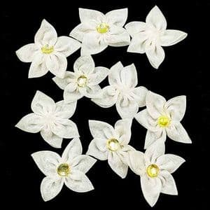 Small fabric flowers, Organza, Cream colour, 4.5cm [approximate], 10 pieces, [CDH138A]