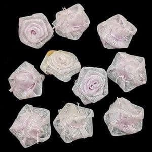Small fabric flowers, Organza, Light purple, 1.5cm [approximate], 10 pieces, [CDH136]