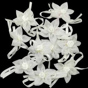 Small fabric flowers, Organza, white, 3.5cm [approximate], 10 pieces, [CDH137]