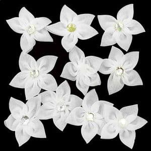 Small fabric flowers, Organza, white, 4.5cm [approximate], 10 pieces, [CDH138]