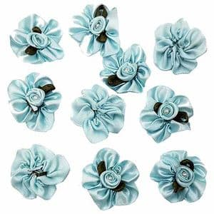 Small fabric flowers, Satin, Light blue, 3cm x 3cm [approximate], 10 pieces, [CDH118]