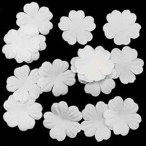 Small fabric flowers, Satin, white, 2.5cm x 2.5cm [approximate], 15 pieces, [CDH127]