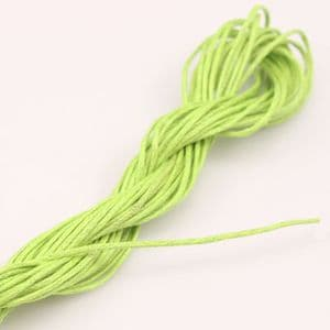 Waxed cord, Cotton thread, Light green, 10m, 1mm, (ZLX018)