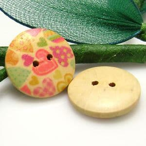 Wood button, Assorted colours, Diameter 18mm, 3 buttons, (XMK297)