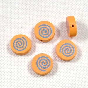 Wooden beads - flat, orange, 17mm x 5mm, 5 Piece, (MZP115)