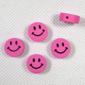 Wooden beads - flat, pink, 15mm x 5mm, 5 Piece, (MZP069)