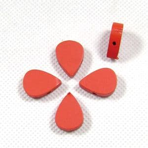 Wooden beads - oval, red, 0.5cm x 1.4cm x 2cm, 5 Pieces, (MZP107)